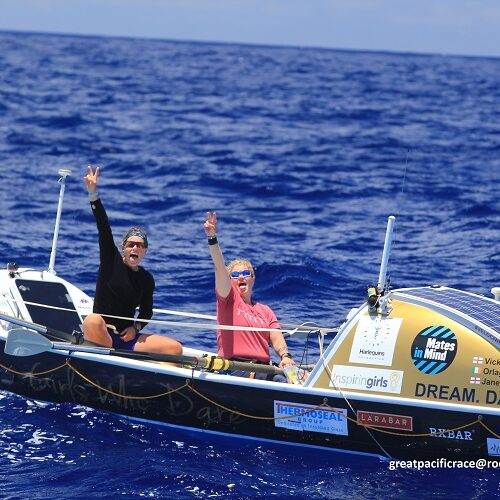 GPR2021 Girls Who Dare Jane and Orlagh waving to support yacht
